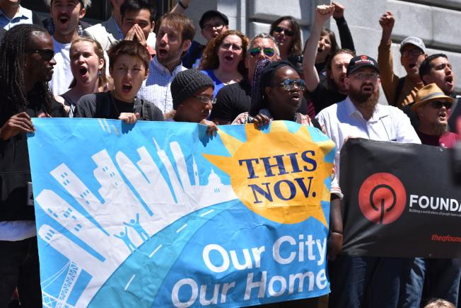 名為「我們的城市、我們的家園」遊民公投案,已收集到近3萬個支持簽名,將列在今年11月選票上。(記者李秀蘭/攝影)