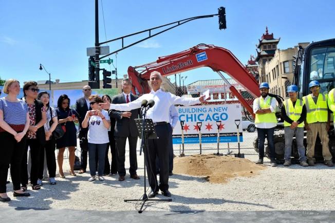 「威爾斯街─永活街連結」第二階段工程9日啟動。(芝加哥市辦公室提供)