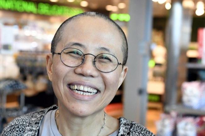 劉霞開心抵達芬蘭赫爾辛基。(Getty Images)