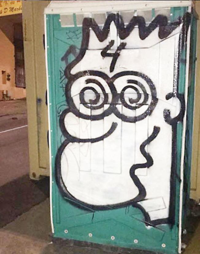 塗鴉嫌犯在華埠及全市繪畫著名的Bart Simpson卡通人物。(舊金山警局提供)
