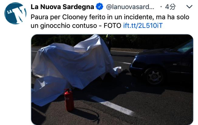 喬治庫隆尼驚傳車禍。(取材自推特)