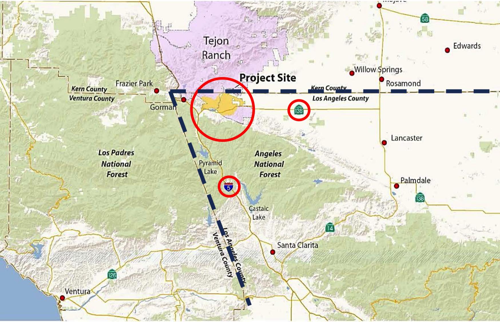 塔洪牧場開發區域位置圖。(洛杉磯縣府網站)