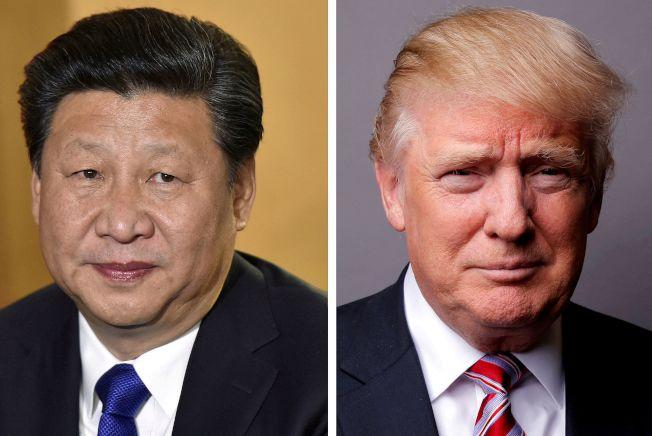 華爾街日報指出,要知道貿易戰何時將結束,須觀察哪國經濟壓力先爆表。圖為中國國家主席習近平(左)與美國總統川普(右)。(路透)