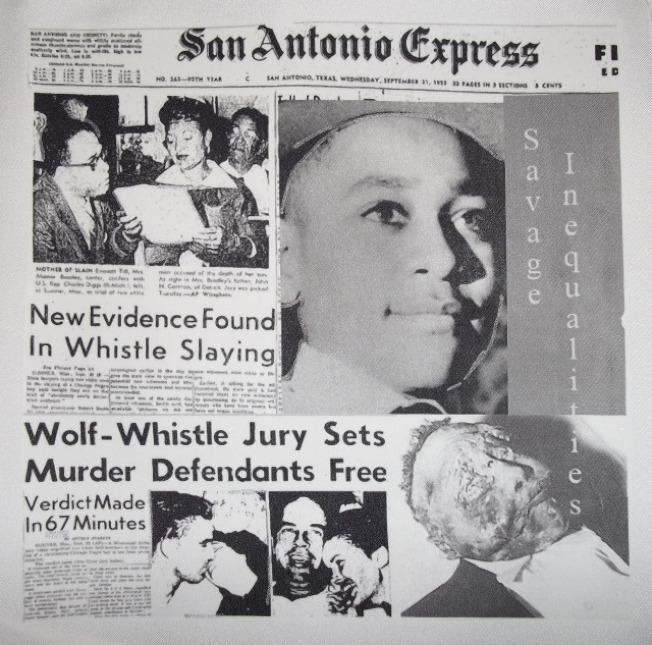 14歲黑人男孩提爾被白人私刑奪命,他的母親在葬禮上敞開他的棺木。圖為當時「聖安東尼奧快報」的頭版報導。(取自網站)