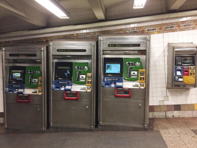 紐約地鐵地鐵自動售票機。(中央社)