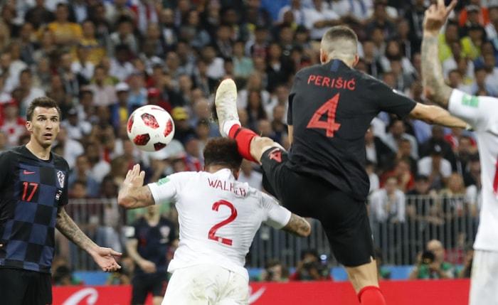 第68分鐘,克羅埃西亞4號球員Ivan Perisic踢進一球!美聯社