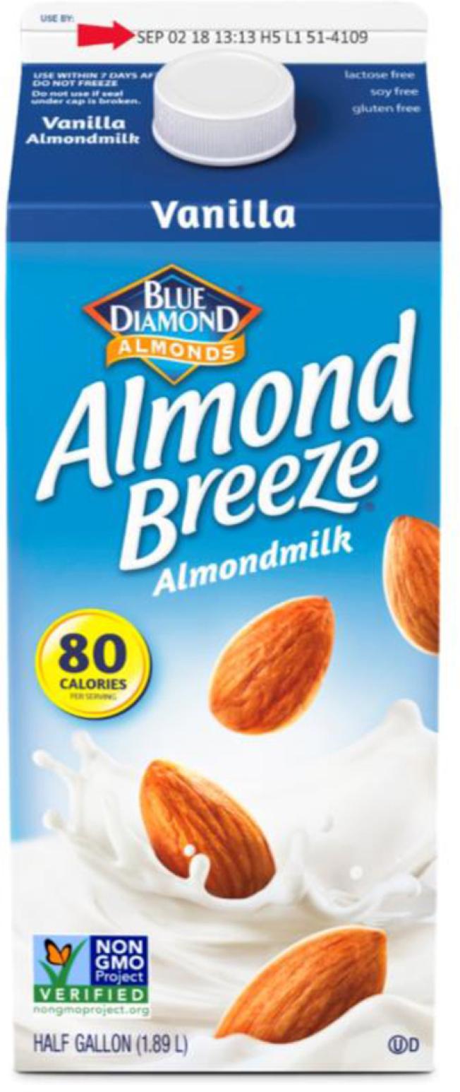 知名杏仁奶品牌「杏仁微風」被摻進牛奶,近15萬盒半加侖裝產品被召回。(FDA)