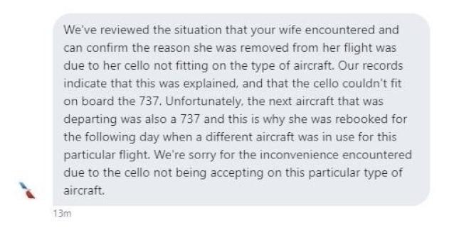AA在推特上回應唐杰表示,737班機不允許攜帶大提琴登機。(唐杰提供)