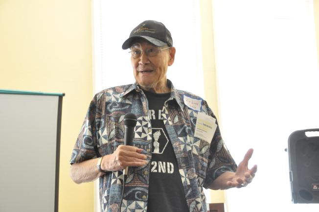 華裔英雄Hung Wai Ching的兒子Kit Ling Ching表示,在夏威夷,幾乎所有的人都是少數族裔,排外的想法自然不會太嚴重,且很多排日情緒其實是來自政府的操控。(記者林亞歆/攝影)