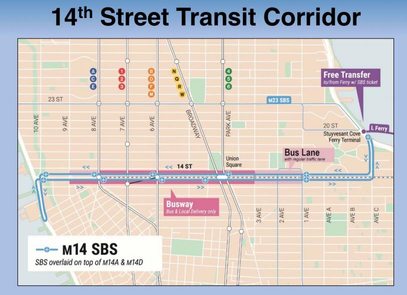 横穿曼哈顿14街的M14特选公车将提供夜班车服务。(取自市交通局官网)