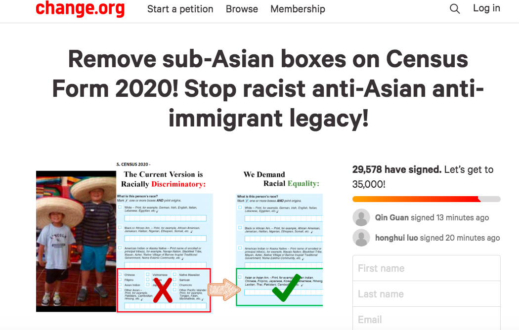 有關反對亞裔細分的連署。(圖:change.org)