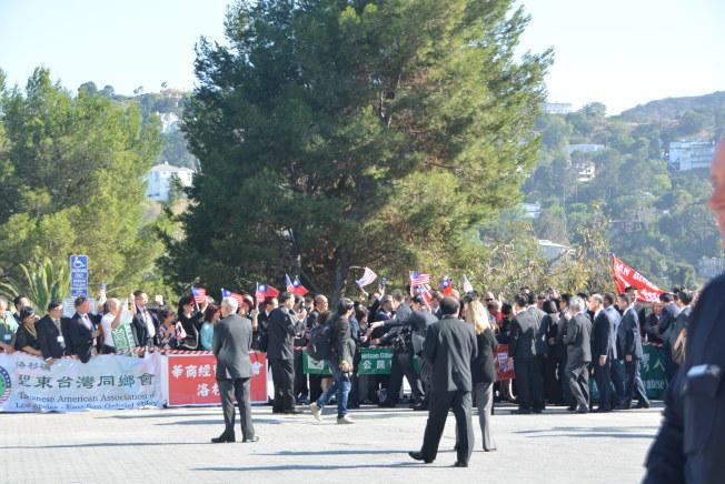 2016年洛杉磯僑胞歡迎蔡英文總統的熱鬧場面。(本報檔案照)