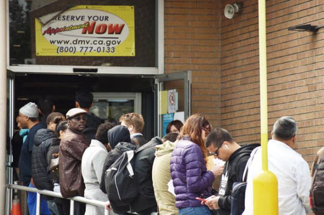 舊金山DMV辦事處出現長長等候換領新身份證及駕照的人龍。(記者李秀蘭/攝影)