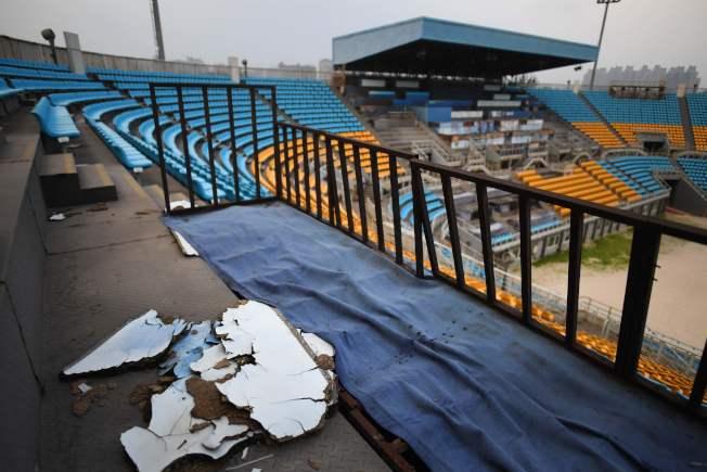 2008的北京奧運場館,如今變的彷彿廢墟。(Getty Images)