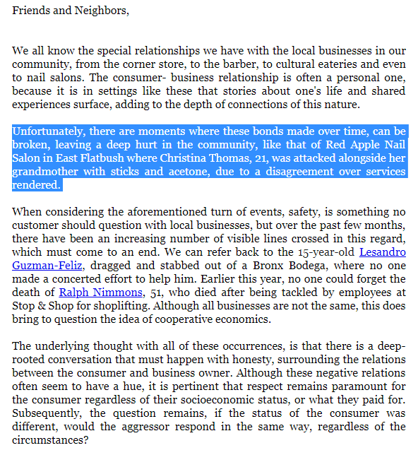 理查德森8日發表官方聲明力挺非洲裔女顧客。(取自理查德森推特)