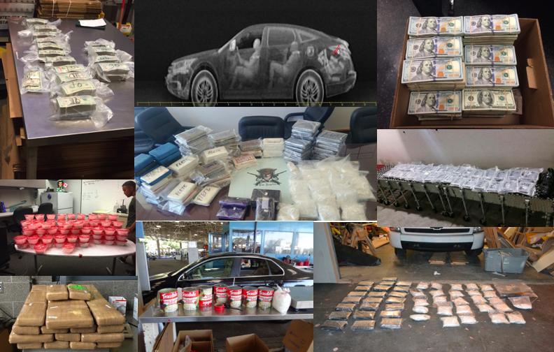 執法人員當天同時收繳了850磅安非他命(methamphetamine)、近1噸可卡因(cocaine)、93磅海洛因(heroin)、近50磅大麻以及142萬美元毒資。(聯邦法院提供)