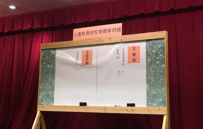 王憲筠以39比16的票數當選紐約華僑學校校長。(記者張筠/攝影)