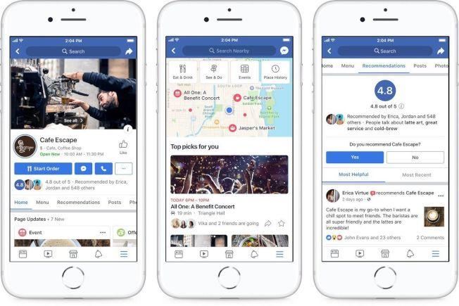 臉書推出4大項社群新功能,包括提升企業粉絲專頁、新增「推薦」功能、建立更多活動、新增「探索周邊」選項。 (取材自臉書)