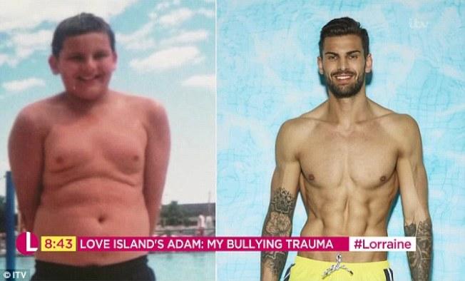 健身教練亞當寇拉從童年時的小胖弟,變成現在的猛男,人生也因此大改變。圖/摘自ITV