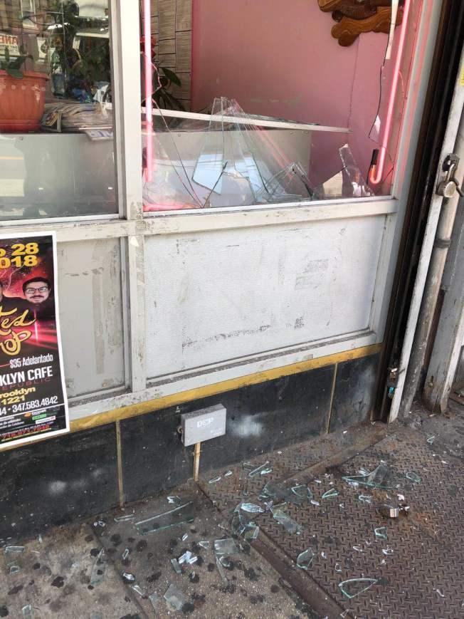 8日上午林女士的美甲店無故被砸,嫌犯逃之夭夭。(林女士提供)