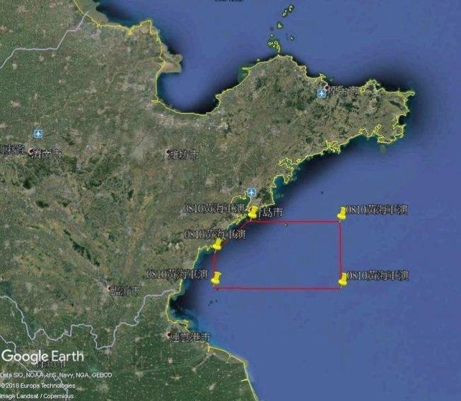 呂禮詩按中國海事局公布操演座標,標示出艦艇操演範圍。(取材自臉書)
