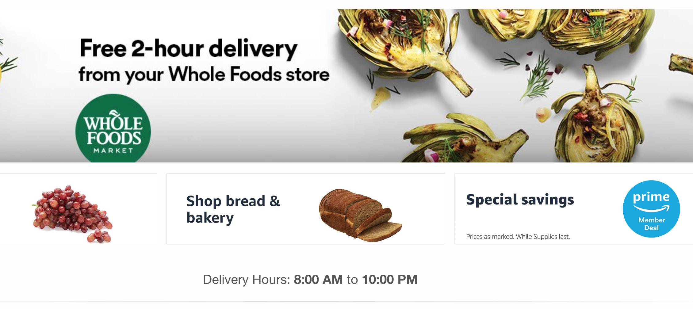 亞馬遜自收購全食超市以來,主打2小時新鮮食材送貨上門。(亞馬遜官網圖片)