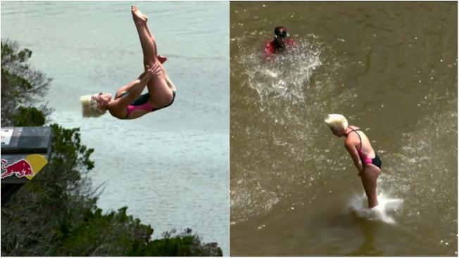 初學者想嘗試懸崖跳水,必須先找尋安全的跳水點,最重要的是以腳部入水,才能避免頭部受傷。翻攝 YouTube/Great Big Story
