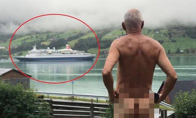 71歲的挪威政治人物史維恩(Svein Opdal)不滿遊客太多,因此全裸以示抗議。圖擷自Instagram/sveinopdal