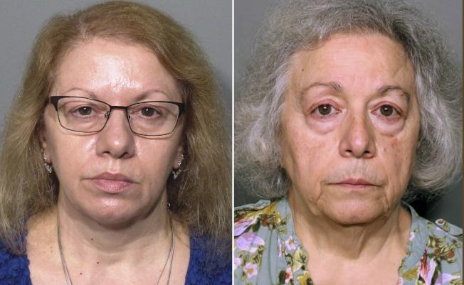 學校餐廳前員工姊妹、61歲的帕斯卡利(左)和67歲的威爾森(右)被控漏報收取學生午餐現金的總額,盜取近50萬元。(美聯社)