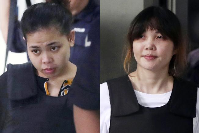 席蒂艾沙(左)與段氏香(右)在去年以VX毒劑灑金正男,使他致死。(美聯社)