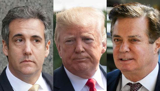 川普總統(中)的長期私人律師柯恩(左)與檢方達成認罪協議,前競選總幹事馬納福(右)被依多項罪名起訴,對川普的衝擊很大。(Getty Images)