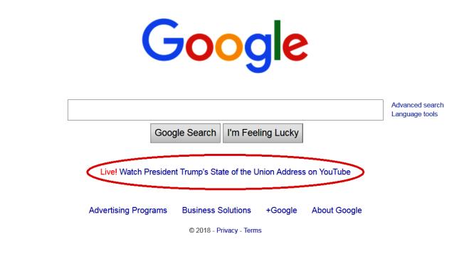 谷歌推出川普總統國情咨文預告,未標明美東時間。(取自CNBC)
