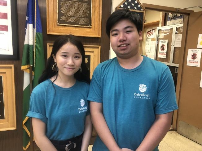 「DelveBright Education」創辦者陳之堯(右)及副主席劉莉(左)。(記者陳小寧╱攝影)