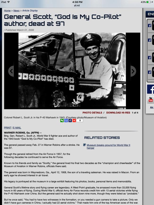 《上帝是我的副駕駛》作者史考特將軍。(取自飛行博物館)