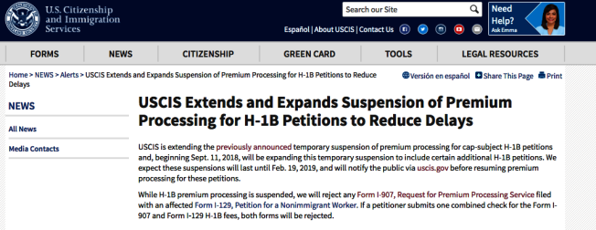 USCIS將繼續暫停工作簽證H-1B加急服務。(USCIS官網)