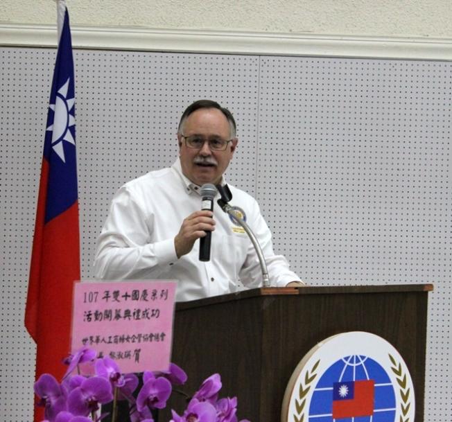 休士頓市議員Mike Laster致詞,祝賀中華民國國慶。