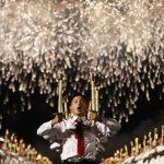 北韓慶建政 人海藝術表演、火炬遊行超壯觀
