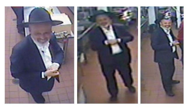 嫌犯犯案時身穿全黑服裝、戴著一頂深色帽子。(警方提供)