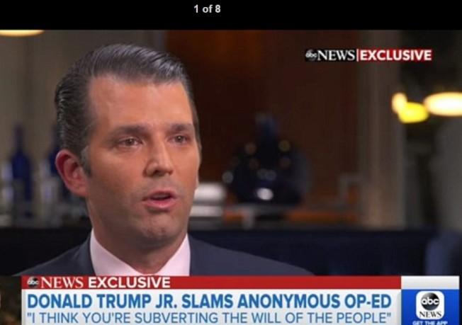 川普總統長子小唐納11日受訪表示,父親幾無可信任之人可用,強調要徹查「匿名投書者」。(取自ABC電視截頻)