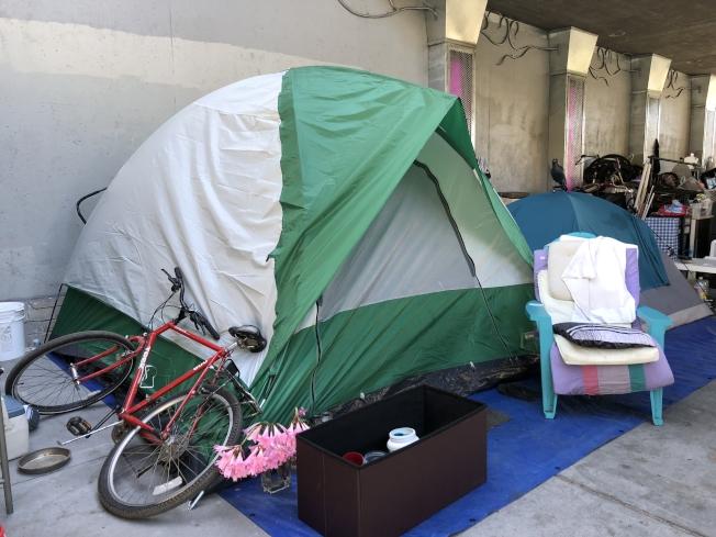 美麗湖附近的遊民帳篷隨處可見。 (記者劉先進/攝影)