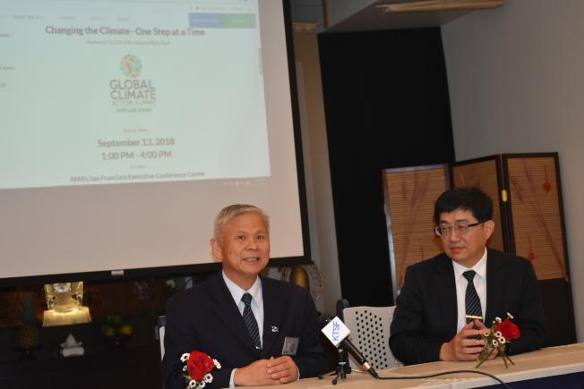 佛教慈濟基金會美國北加州分會執行長謝明晉(左)和佛教大林慈濟醫院副院長林名男(右)鼓勵公眾積極參加13日舉行的環保專題研討會。(記者黃少華╱攝影)