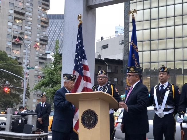 紐約華裔美國退伍軍人會舉辦九一一悼念儀式。(記者洪群超/攝影)