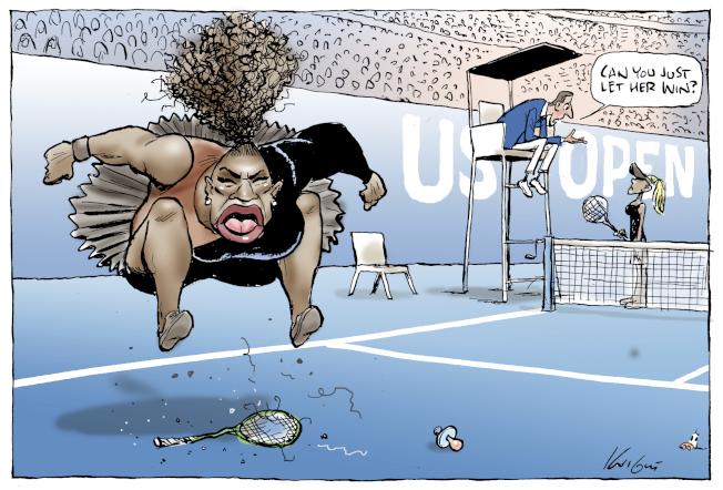 前鋒太陽報插畫家奈特(Mark Knight)用插畫諷刺小威廉絲(Serena Williams)在美國網球公開賽決賽大發脾氣。插畫10日刊登後,引起全球一致撻伐。美聯社