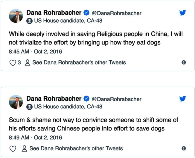 羅拉巴克此前也多次談及對華人吃狗肉的看法。(取材自羅拉巴克推特)