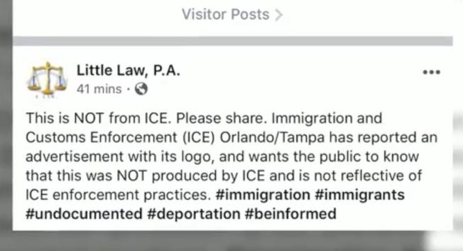 ICE坦帕奧蘭多辦公室否認傳單出自ICE,律師轉發分享。(截自視頻)