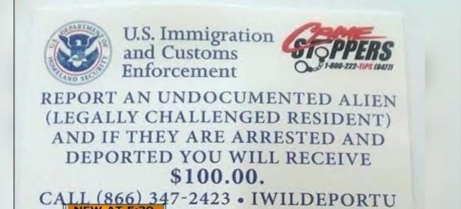 假傳單上有國安部的圖章及ICE停止犯罪專線電話,看起來像真的一樣。(截自視頻)