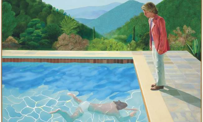 英國畫家霍克尼(David Hockney)的《藝術家肖像畫:游泳池畔的兩個人》將在佳士得拍畫,預估8000萬美元,很可能刷新在世藝術家於拍賣會上拍出的最貴作品紀錄。美聯社