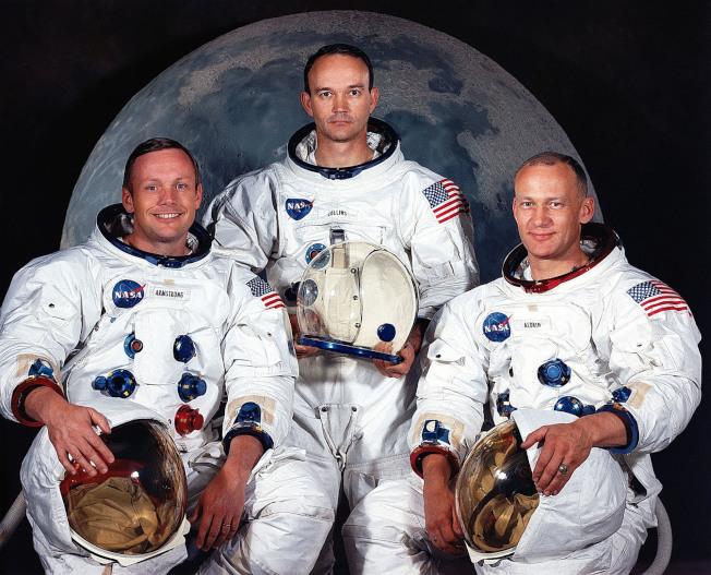 阿波羅11號的三名太空人:(由左至右)阿姆斯壯、科林斯、艾德林。(取材自NASA)