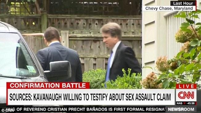 CNN拍攝到卡瓦諾17日一早匆匆趕到白宮,會見川普總統。(視頻截圖)