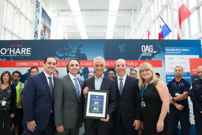 OAG將芝加哥歐海爾機場列為「2018年全美航空樞紐連接度最佳機場」。(取自伊曼紐推特)